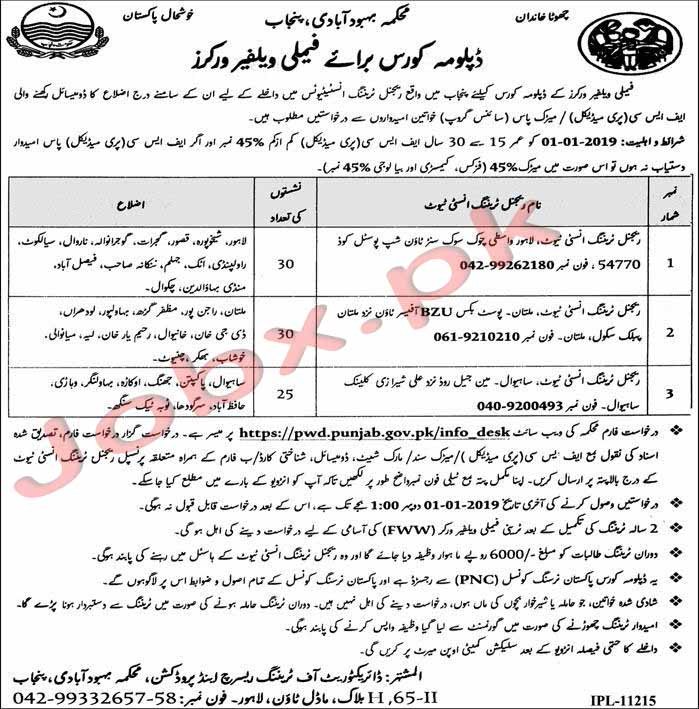 Family Welfare Diploma Course with Rs 6000 Month Allowance