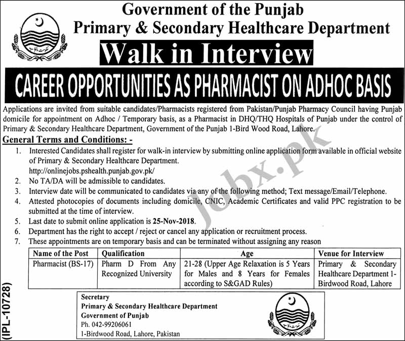 Govt Jobs for Pharmacist in Primary and Secondary Healthcare Department
