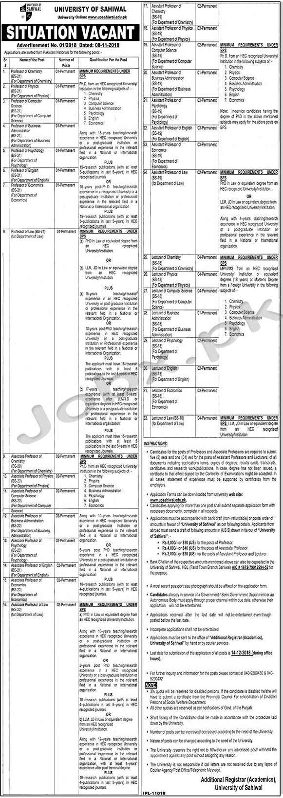 University of Sahiwal Announced 67 Vacancies