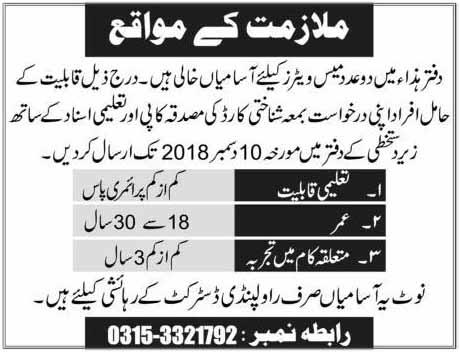 Mess Waiter Jobs in Rawalpindi December 2018