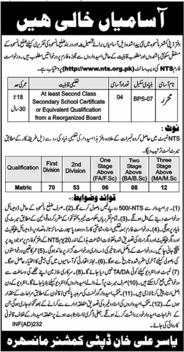 NTS Jobs in DC Office Mansehr