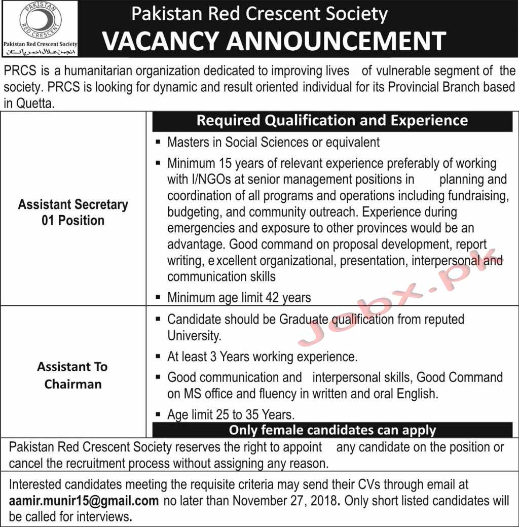 New Vacancies in Pakistan Red Crescent Society