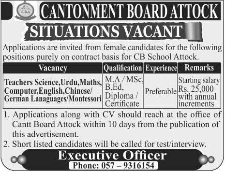 Situations Vacant in Cantonment Board Attock