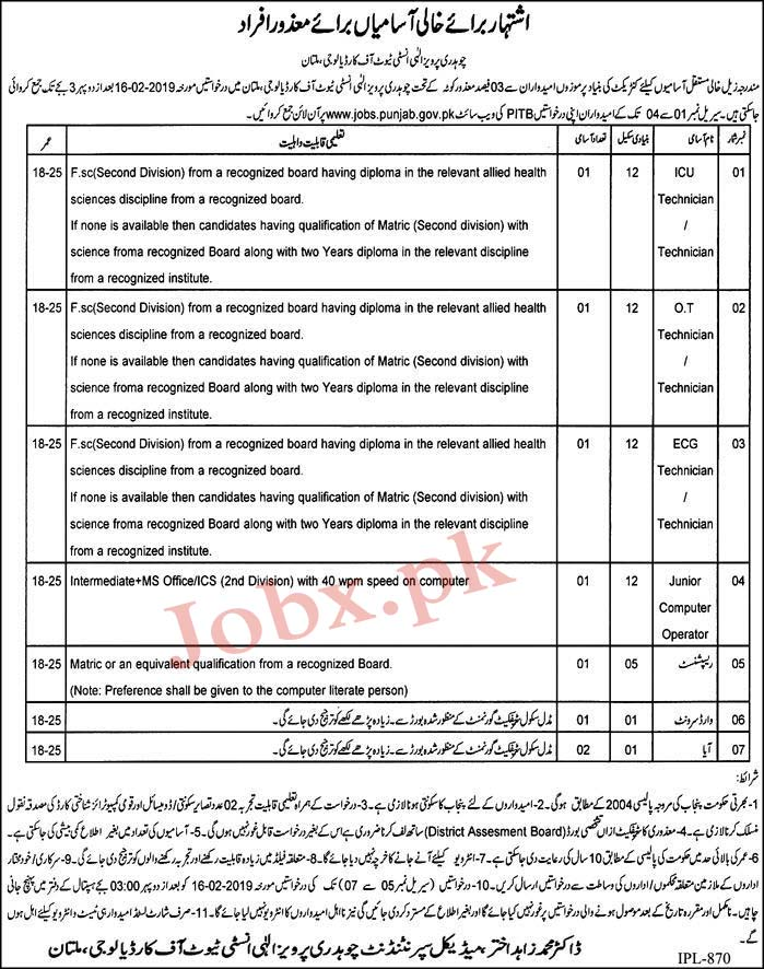Chaudhry Pervaiz Elahi Institute of Cardiology Latest Jobs