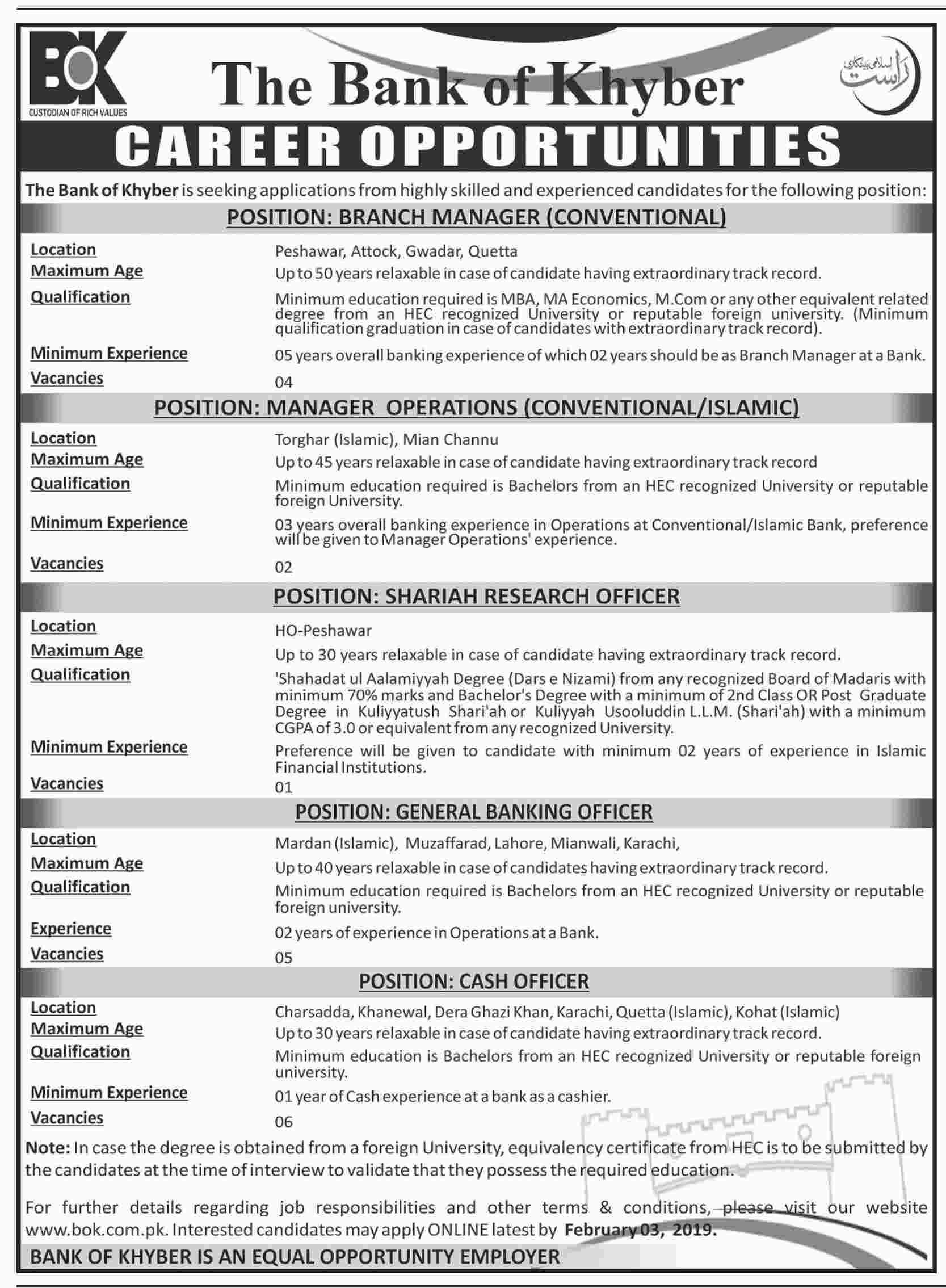 The Bank of Khyber jobs