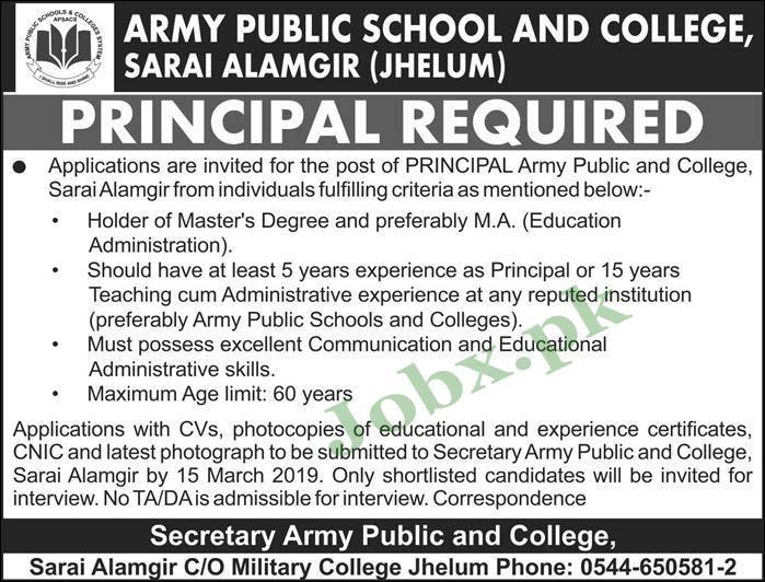 Jobs in Army Public School and College Jhehlum 2019