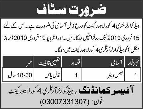 Jobs in Headquarter Military 4 Lahore