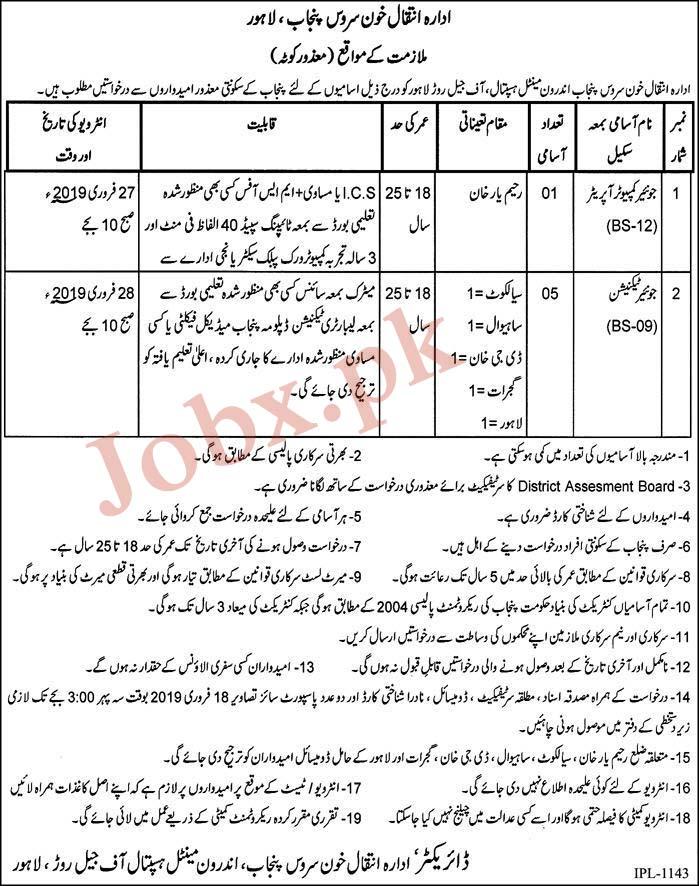 Latest Jobs in Mental Hospital Jail Road Lahore 07 Feb 2019