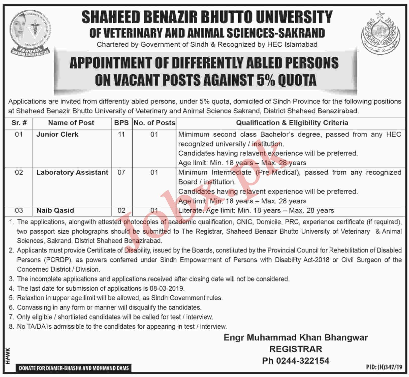 Latest Jobs in Shaheed Benazir Bhutto University in Sakrand 2019