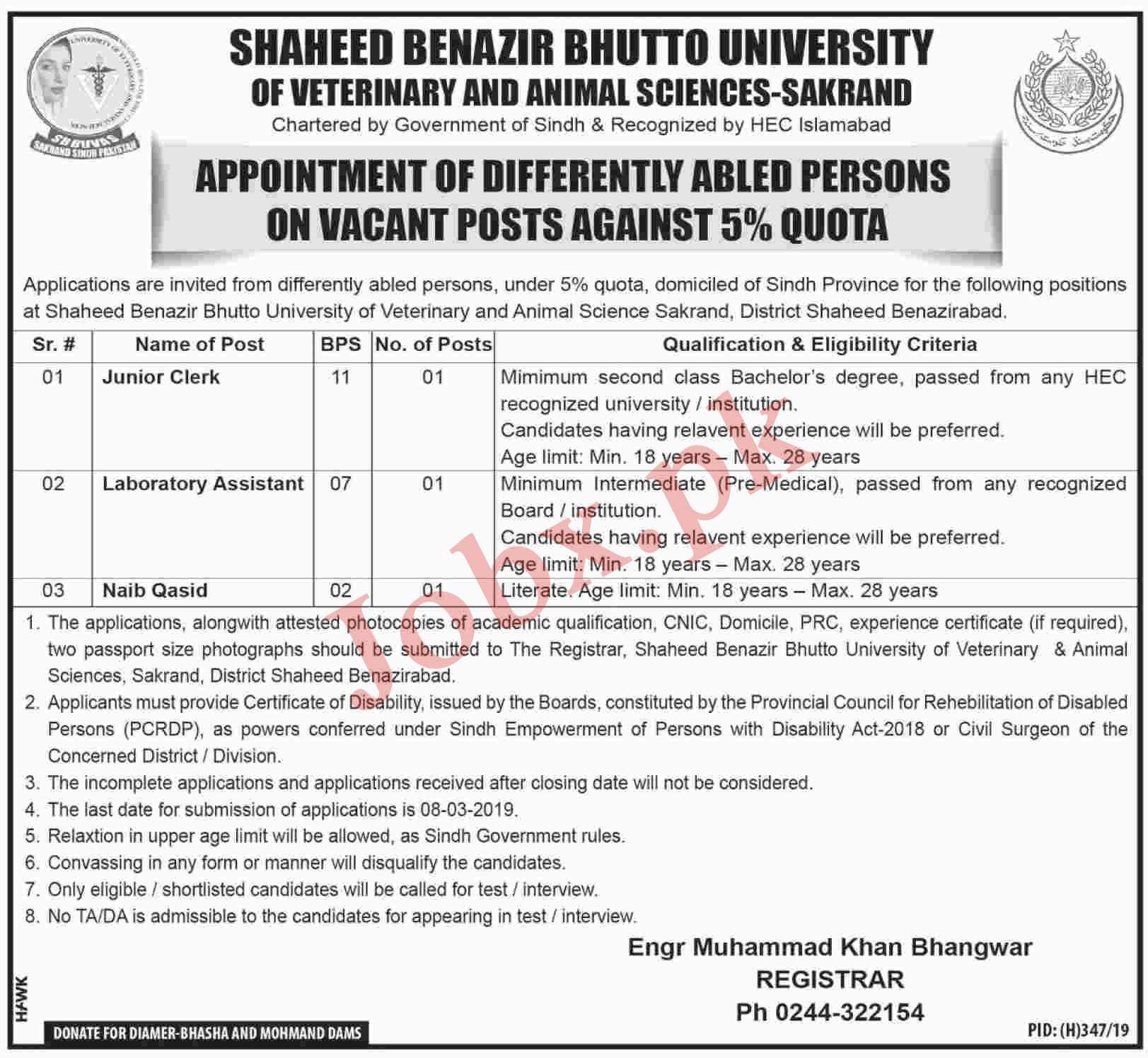 Latest Jobs in Shaheed Benazir Bhutto University in Sakrand 2019