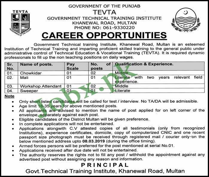 Middle Pass Jobs in TEVTA Multan