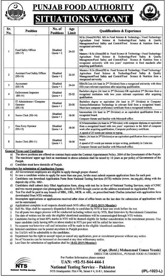 NTS Jobs in Punjab Food Authority Govt of Punjab 2019
