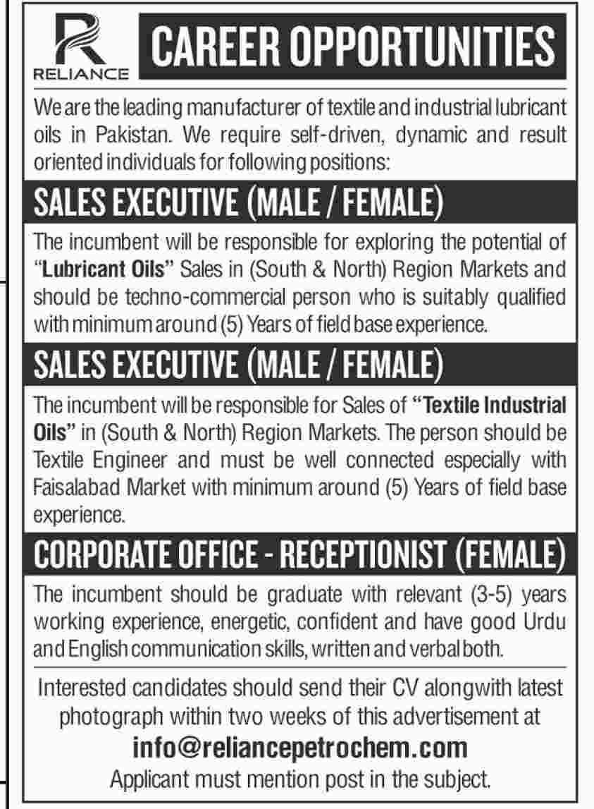 Private Jobs as Sales Executive, Receptionist Male Female 2019