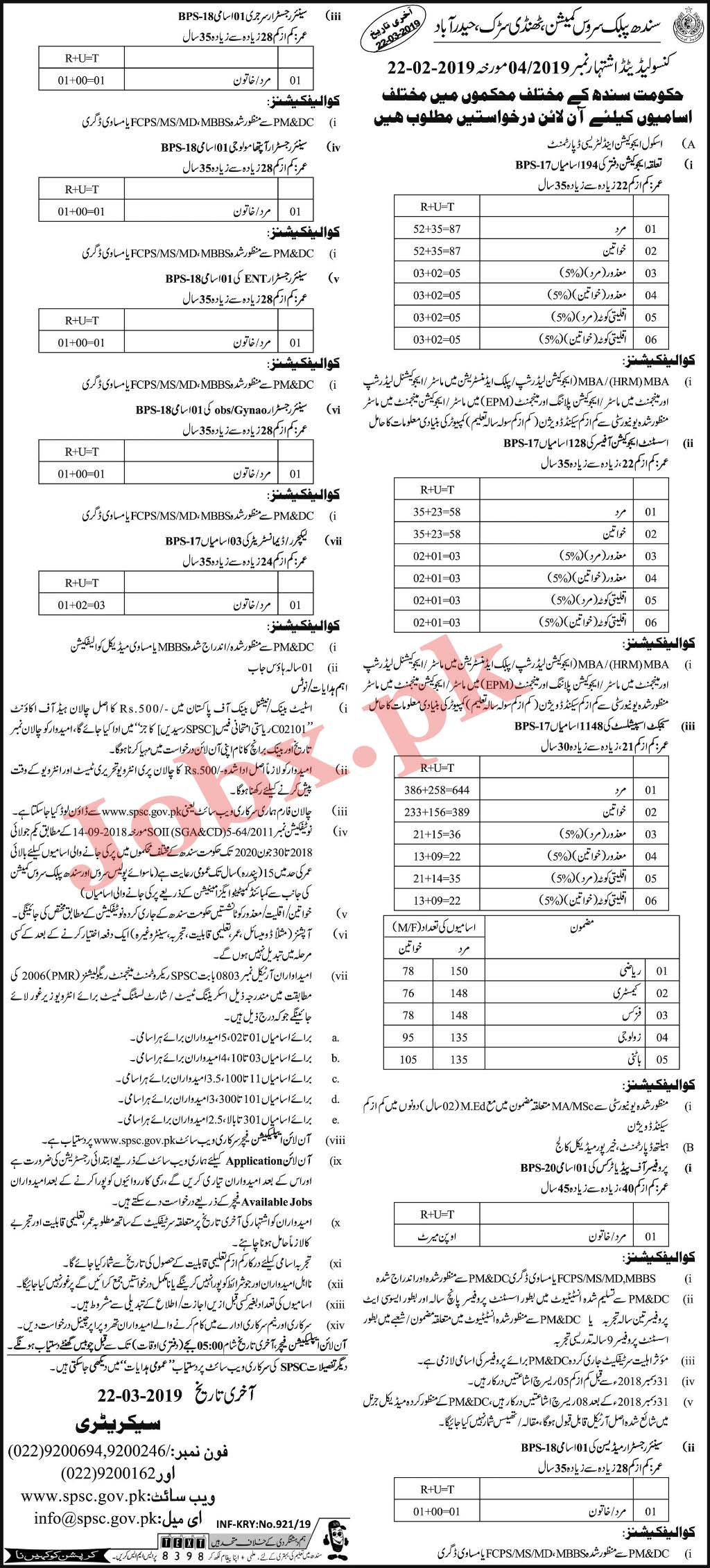 Jobs in Sindh Public Service Comission SPSC