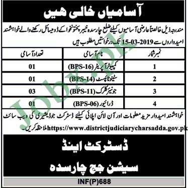 Today Jobs in District Session Judge Charsadda-15-02-2019
