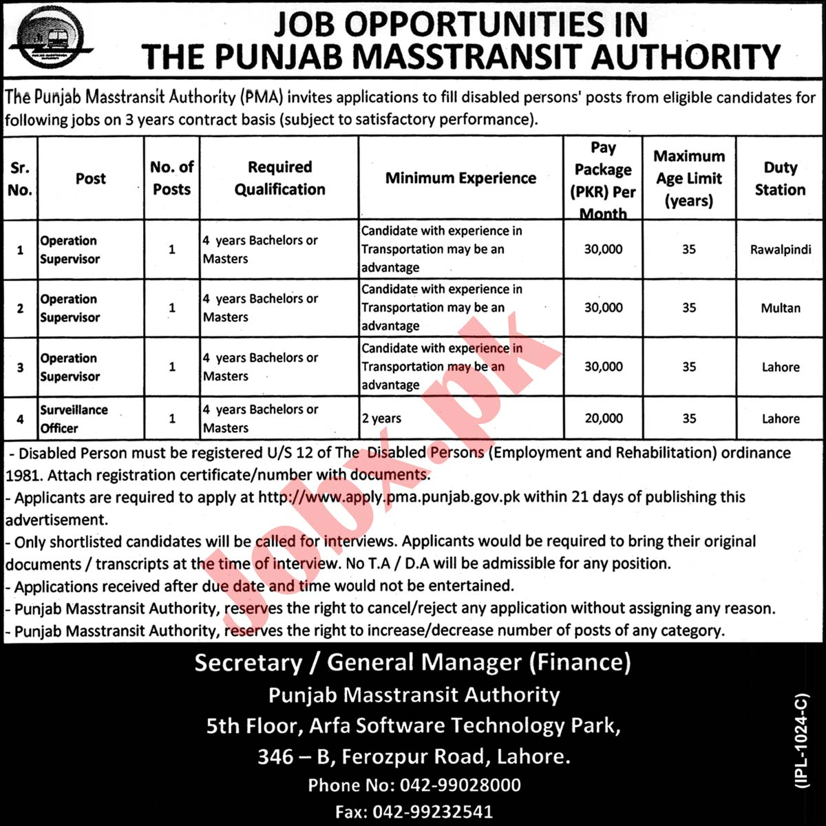 Jobs in Punjab Mass-transit Authority PMA 2019