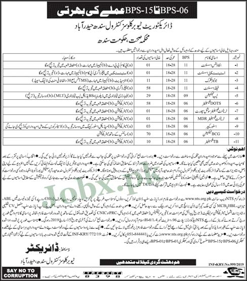 NTS Jobs in Directorate Tuberculosis Control Sindh March