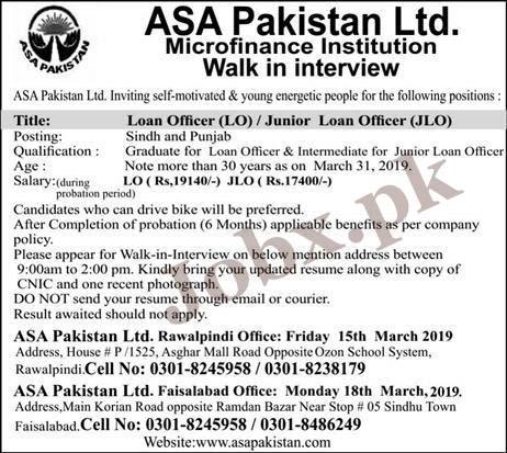 ASA Pakistan Limited Microfinance Jobs in Sindh & Punjab Sunday 2019