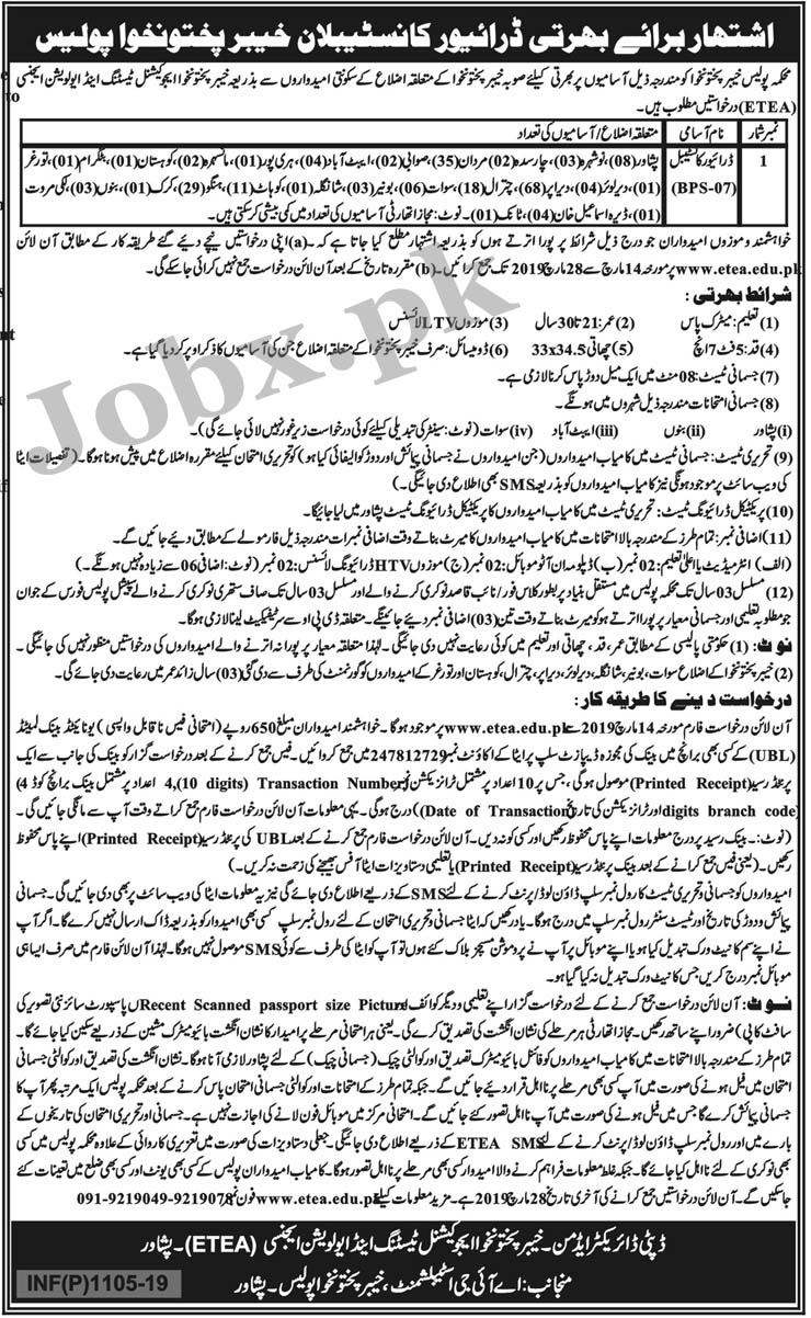 Drivers Constable Jobs In Police Department Khyber Pakhtunkhwa KPK ETEA Mar 2019