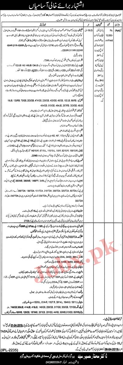 Female Jobs in Primary And Secondary Healthcare Department March 2019