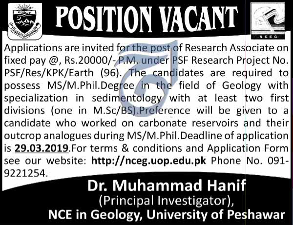 Geology Jobs in University Of Peshawar 13 March 2019