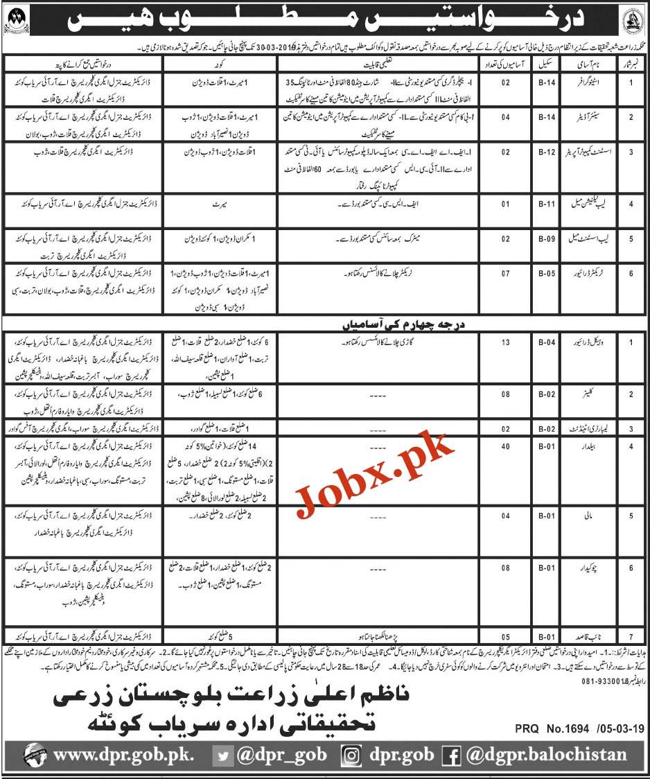 Govt Jobs in Agriculture Department Balochistan