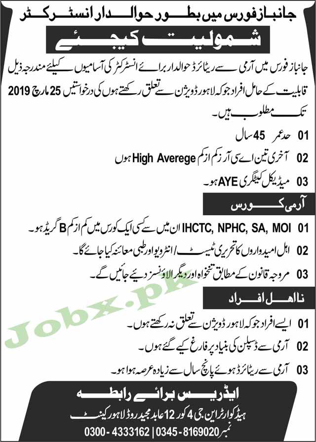 Instructor Jobs in Janbaz Force