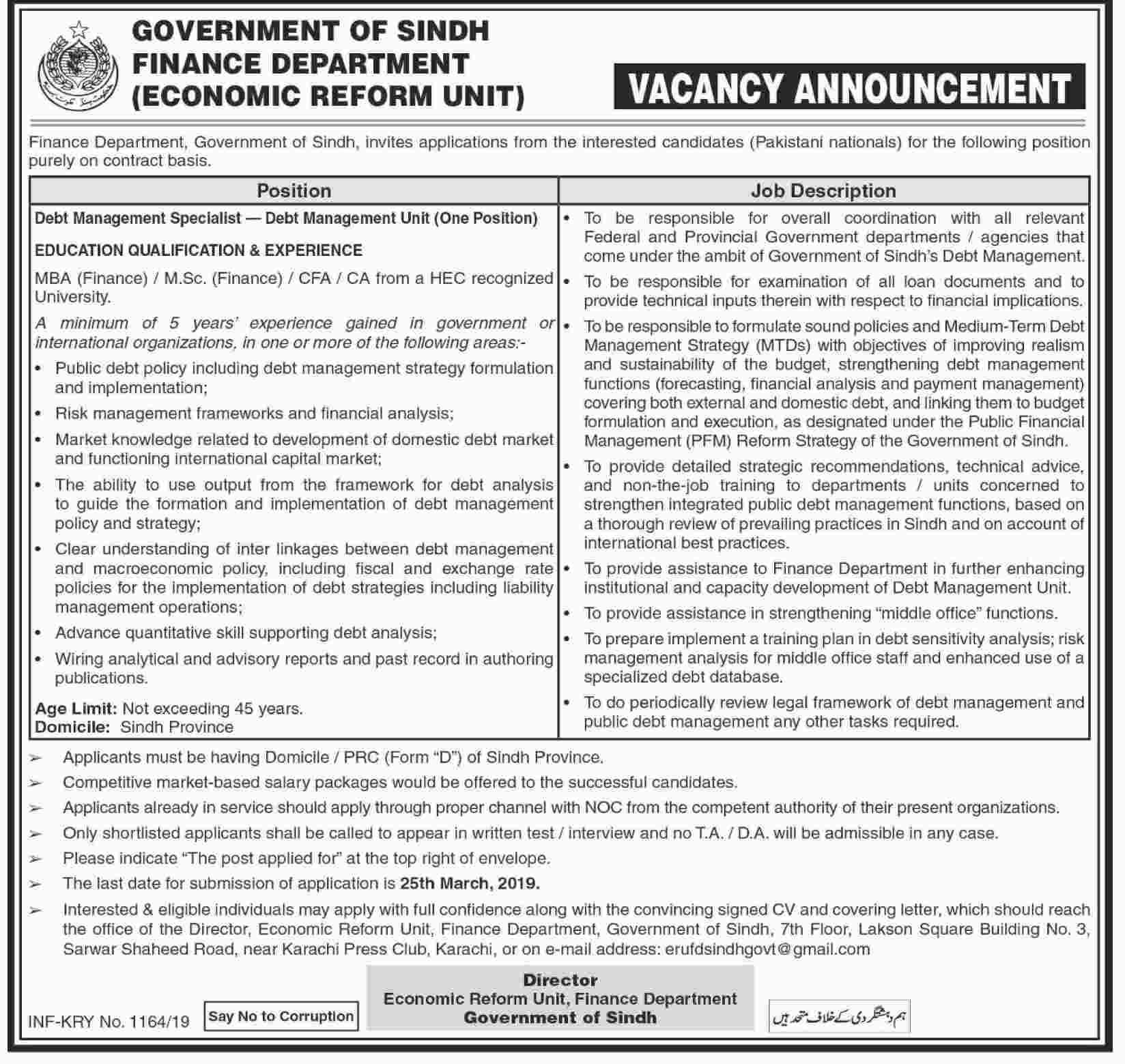 Jobs Vacancy in Finance Department Govt Of Sindh 2019