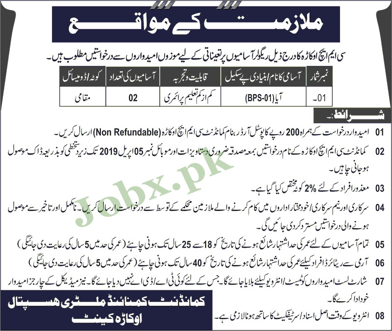 Jobs in CMH Okara 21 March 2019