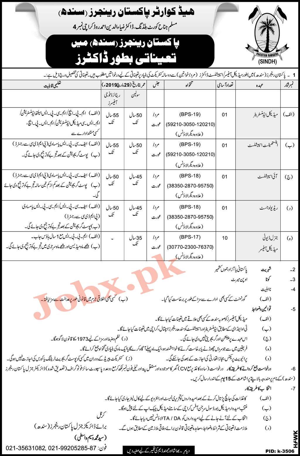 New Jobs in Pakistan Rangers (Sindh) March 2019