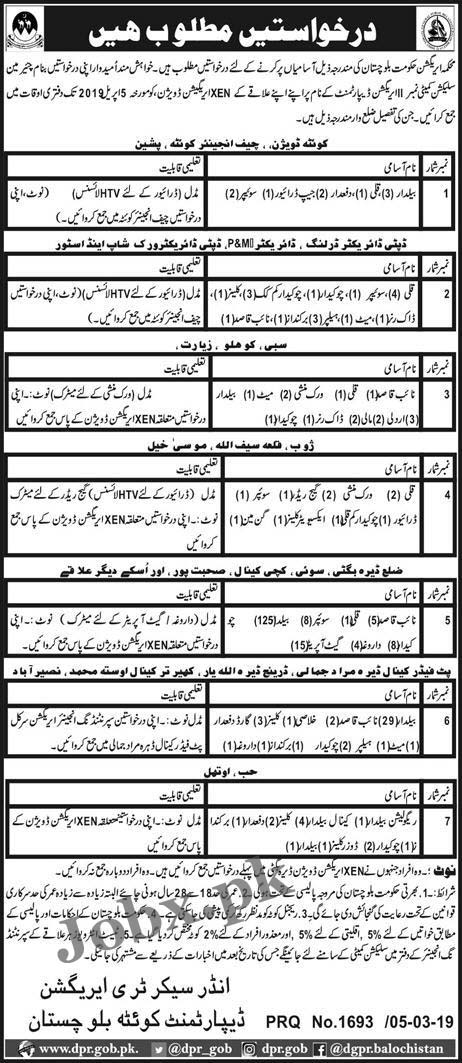 Middle Pass Jobs in Irrigation Department Govt of Balochistan 06 March 2019