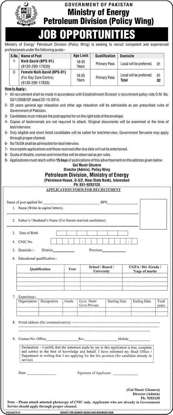 Jobs in Ministry Of Energy Petroleum Division (Policy Wing) 06 March 2019