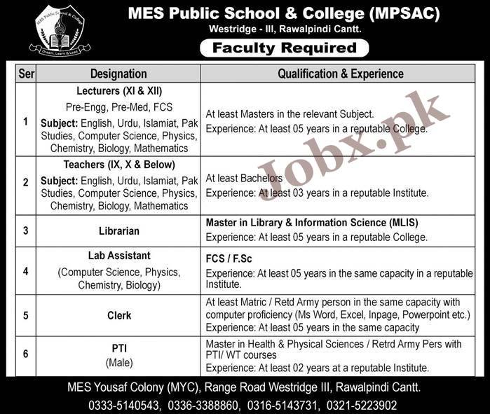 MES Public School & College Sunday 2019 Jobs