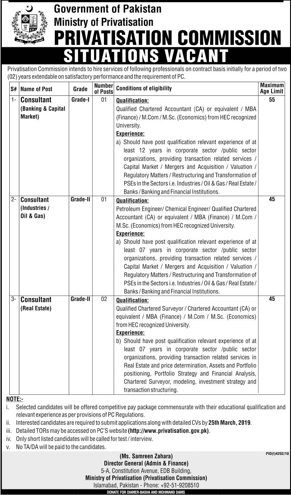 Jobs In Ministry Of Privatisation Govt of Pakistan