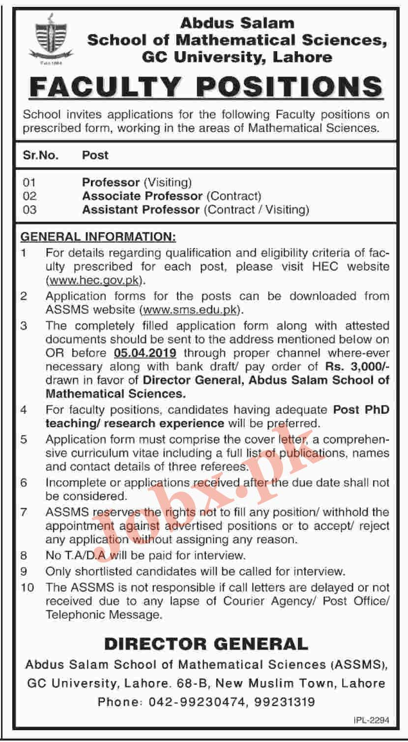 Professors, Associate Professors Jobs in GC University 15 March 2019