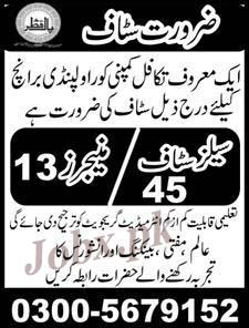 Sales Staff & Managers required in Rawalpindi 2019