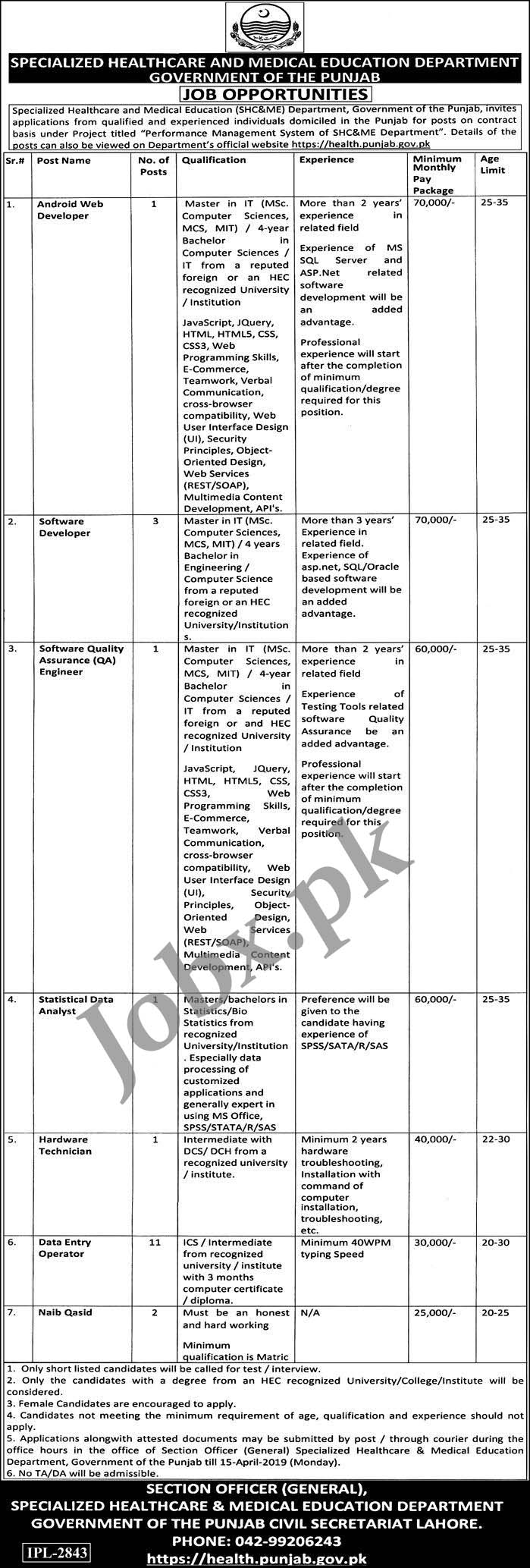 Specialize Healthcare and Medical Education Govt of Punjab 28 March 2019
