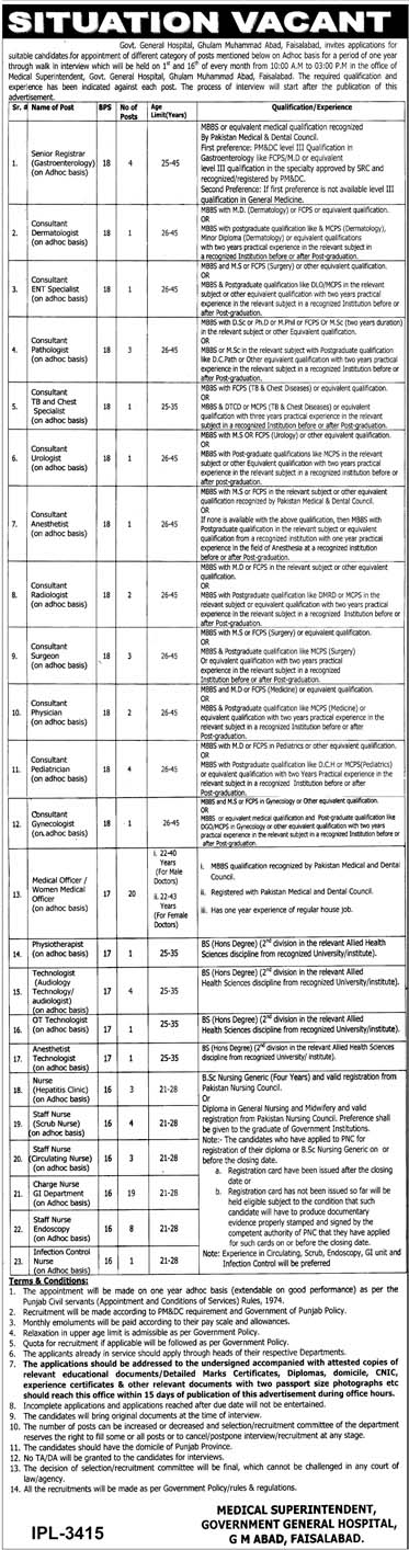 Jobs In Government General Hospital Faisalabad Today 2019