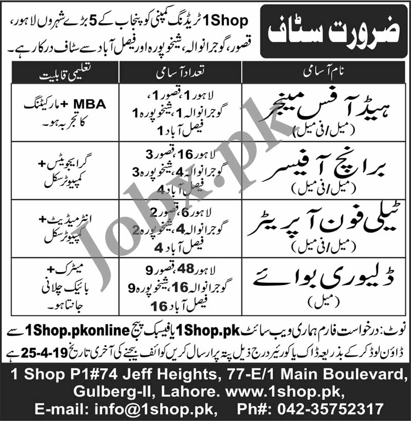 Jobs in 1Shop.pk Trading Company 2019