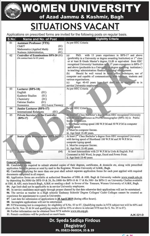 Jobs in Women University of Azad Jammu & Kashmir, Bagh via NTS April 2019