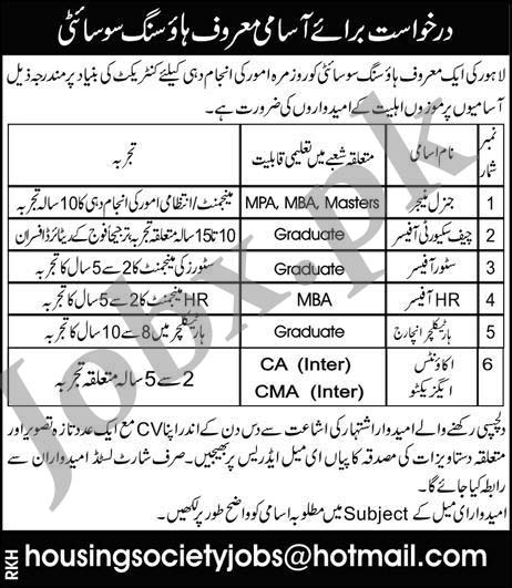 Latest Jobs in Housing Society Lahore