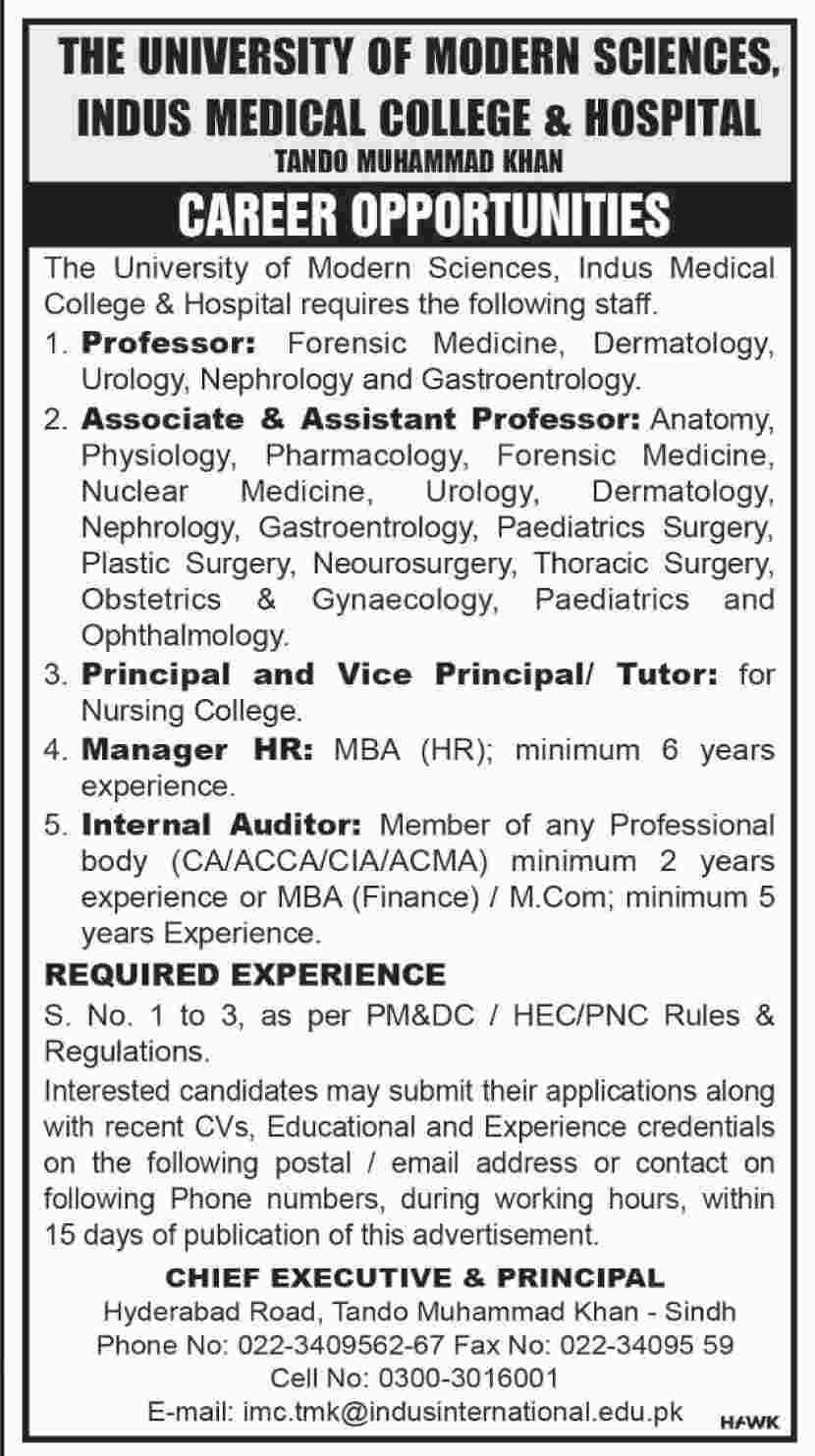 Jobs in Indus Medical College & Hospital Tando Mohammad Khan