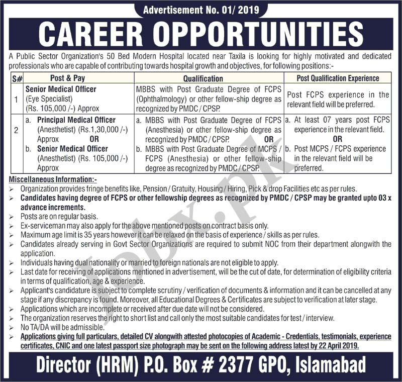 Latest Medical Jobs in Taxila 2019