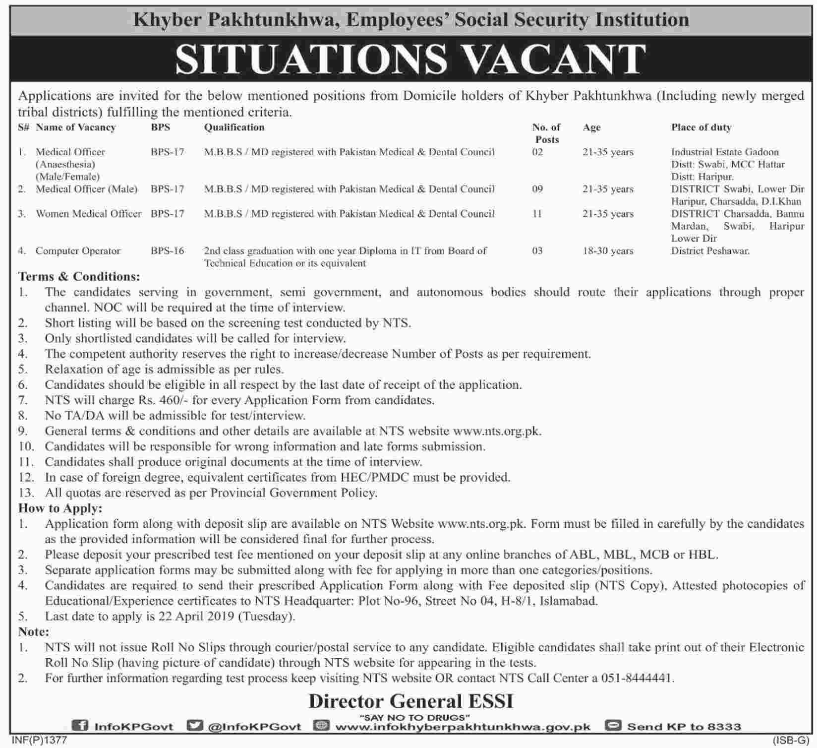NTS Jobs In Khyber Pakhtunkhwa Employees Social Security Institution