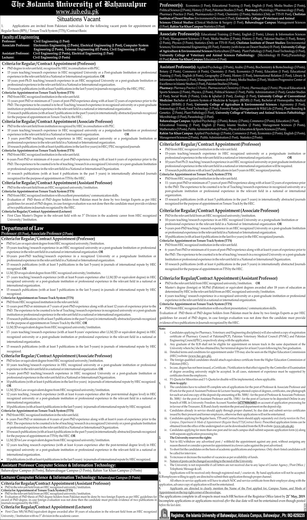 he Islamia University of Bahawalpur Apr 2019 Jobs