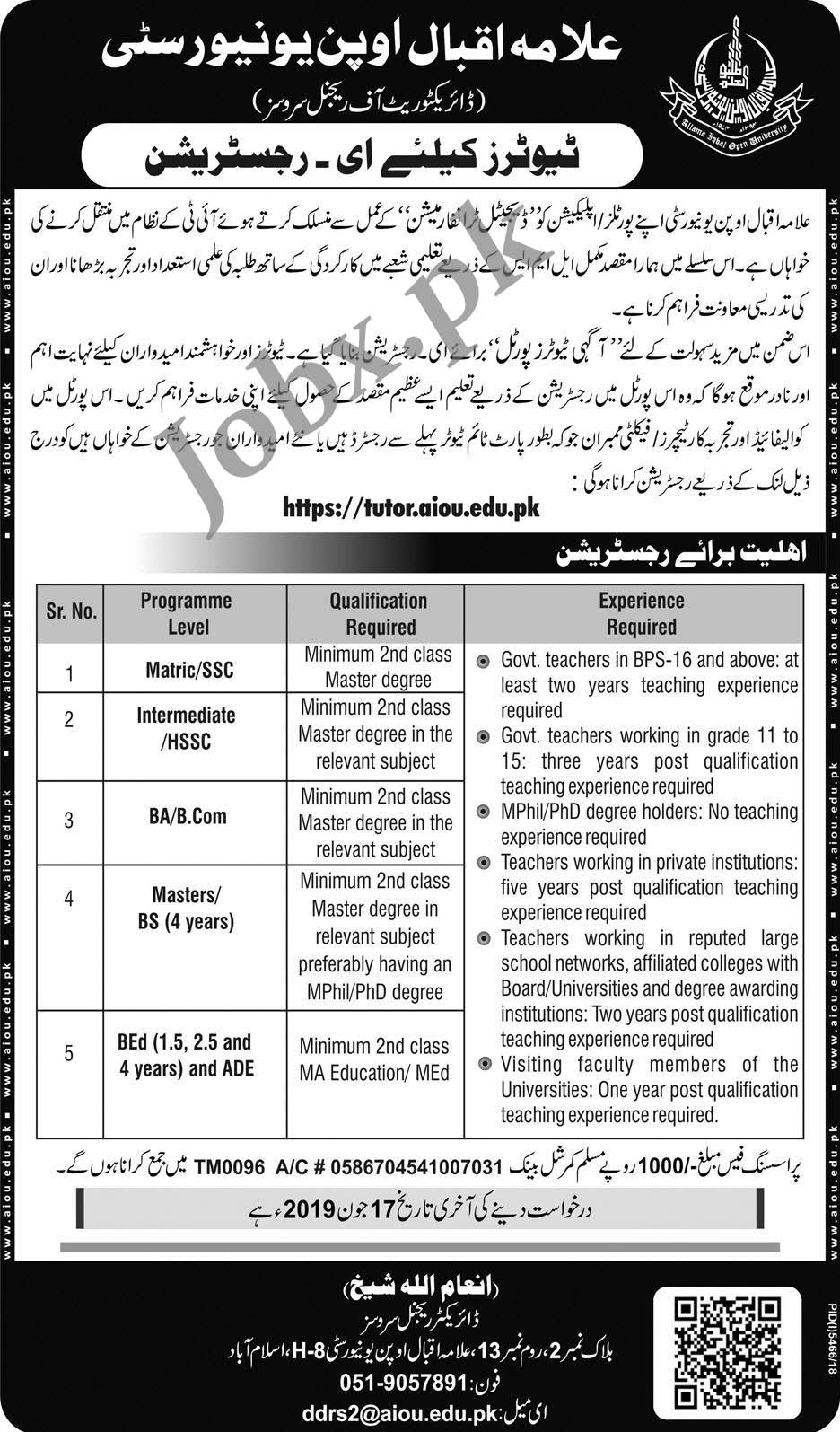 AIOU Tutors Jobs May 2019