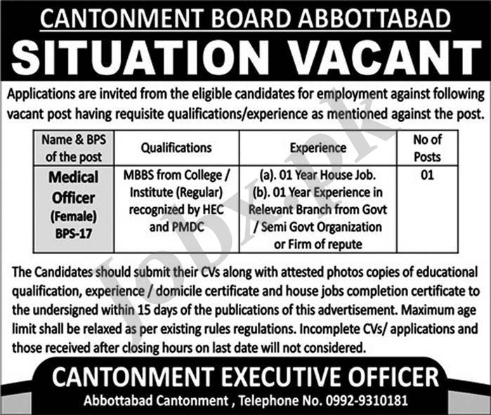 Jobs in Cantonment Board Abbottabad 08 May 2019