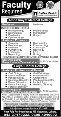 Jobs In Amna Inayat Medical College June 2019