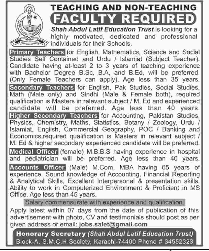 Jobs In Shah Abdul Latif Education Trust 2019