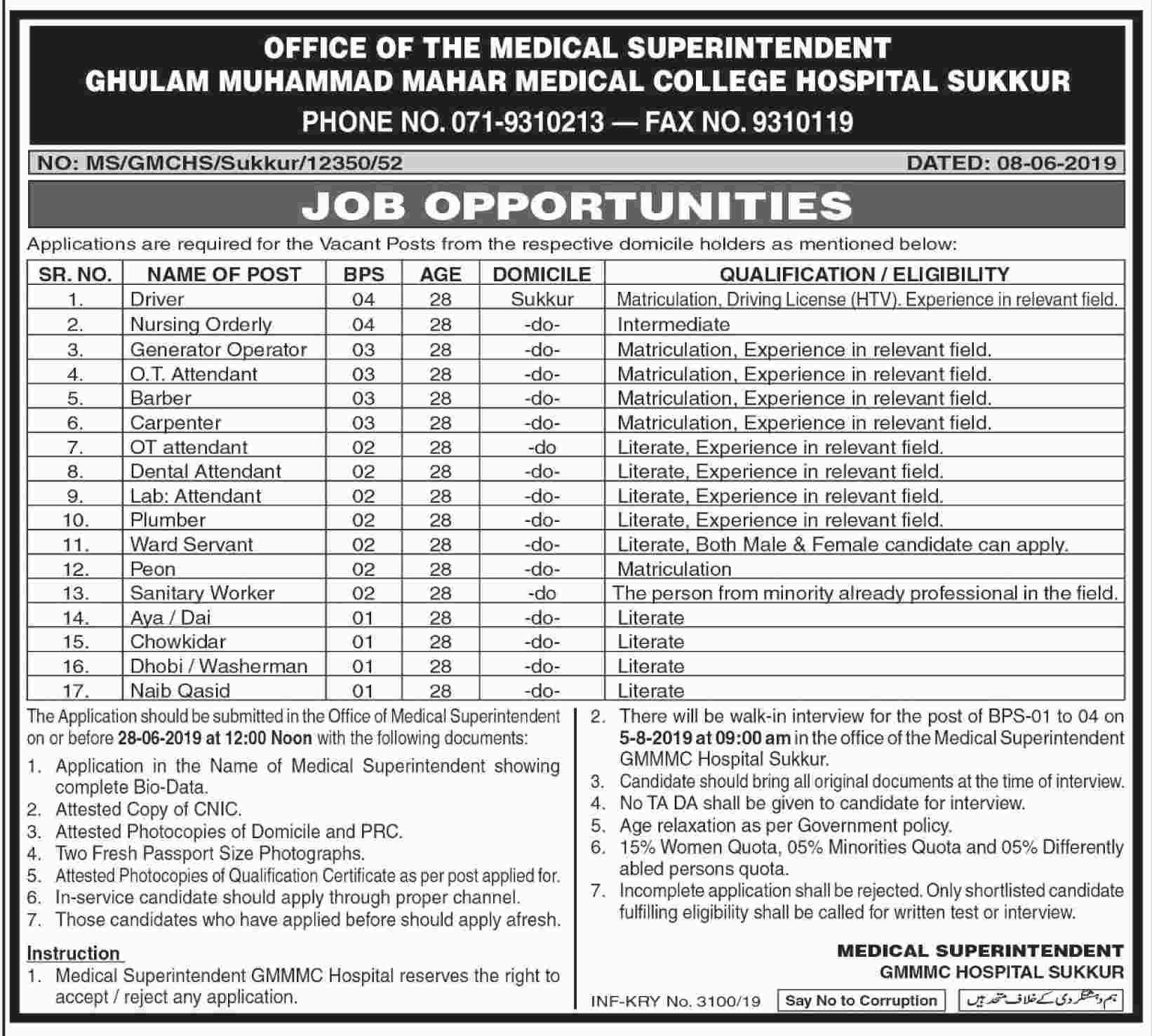 Jobs in Ghulam Mohammad Mahar Medical College Hospital, Sukkur June 2019